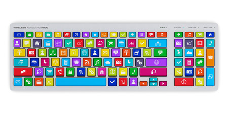 color key: Creative abstract social media network and computer internet web www communication concept: PC keyboard with color key buttons with social networking icons isolated on white background Stock Photo