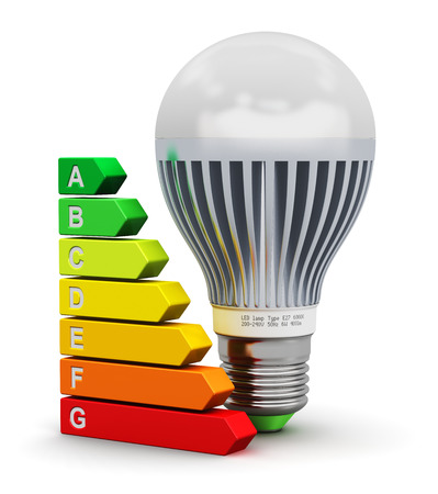 Creative abstract power saving technology and green nature environment conservation ecology business concept: modern LED electronic E27 lamp and color energy rating comparison scale isolated on white background photo