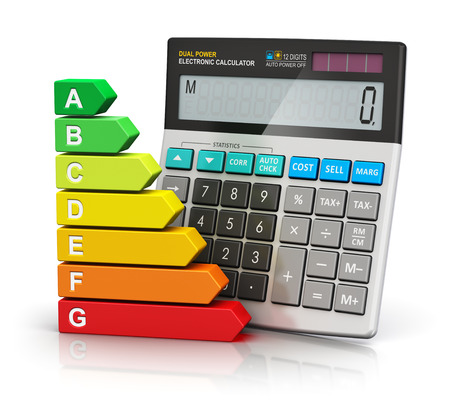 electricity prices: Creative abstract power saving and home budget economy business concept: color energy efficiency rating comparison scale and office electronic calculator isolated on white background with reflection effect Stock Photo