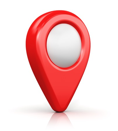 Creative abstract GPS satellite navigation, travel, tourism and location route planning business concept: red destination pointer marker icon isolated on white background with reflection effect Stock Photo