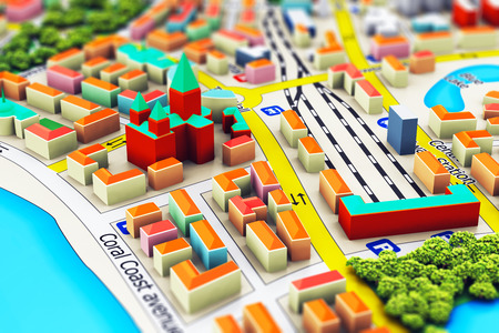 building plans: Creative abstract GPS satellite navigation, travel, tourism  and location route planning business concept: macro view of miniature color city map with 3D buildings with selective focus effect