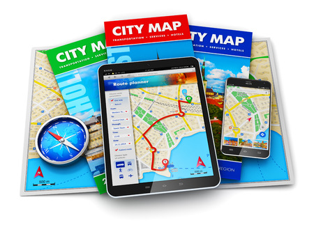 Creative abstract GPS satellite navigation, travel, tourism and location route planning business concept: set of color city maps, magnetic compass, modern black glossy touchscreen tablet computer PC and smartphone or mobile phone with wireless navigator m Stock Photo