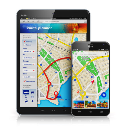 route map: Creative abstract GPS satellite navigation, travel, tourism and location route planning business concept: modern black glossy touchscreen smartphone or mobile phone and tablet computer PC with wireless navigator map service internet application on screen