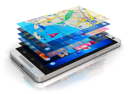downloading: Creative abstract mobility, wireless communication and app downloading internet web business concept: modern metal black glossy touchscreen smartphone with group of colorful application screen interfaces with color icons and buttons isolated on white back Stock Photo