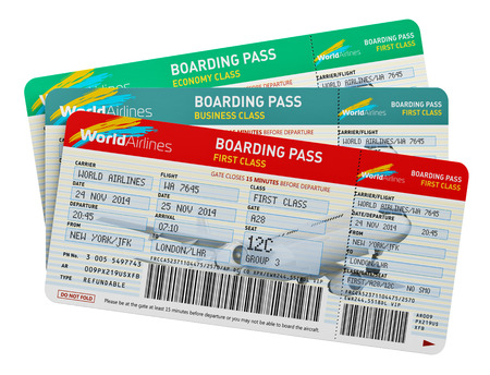 Creative abstract air business travel, tourism and transportation concept: group of color airline tickets for first, business and economy class travel isolated on white background 版權商用圖片