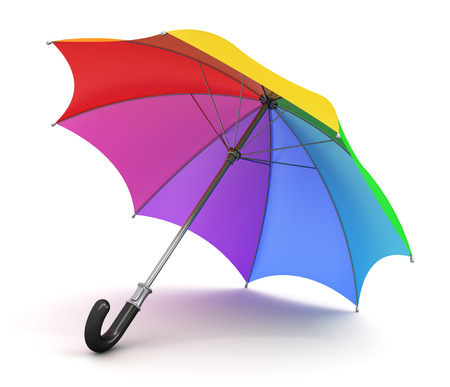 rainbow umbrella: Creative abstract concept: color rainbow umbrella with black handle isolated on white background