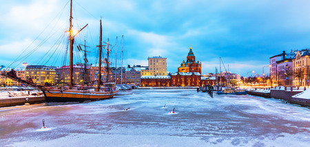 Scenic winter view of Katajanokka district with Uspenski Orthodox Cathedral Church in the Old Town of Helsinki, Finland