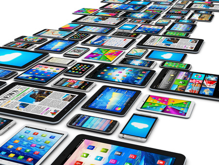 Creative abstract mobility and digital wireless communication technology business concept: group of tablet computer PC and modern touchscreen smartphones or mobile phones with colorful display screen interfaces with icons and buttons isolated on white bac