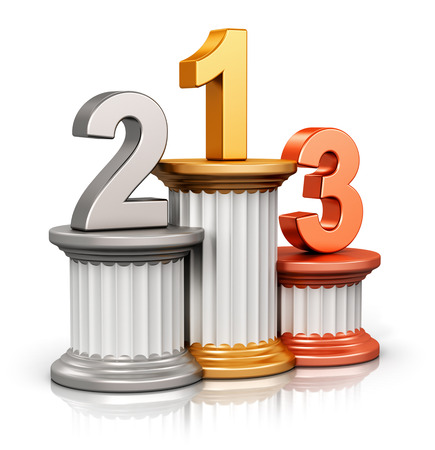 Creative abstract winning, business competition and leadership, award ceremony and success and achievement concept: pedestal with first, second and third place with gold, silver and bronze numbers isolated on white background with reflection effect photo