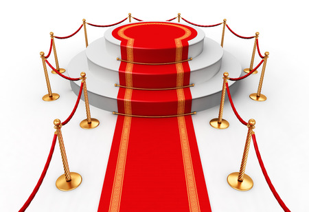 glory: Creative abstract award ceremony and success in business concept: red carpet with pedestal podium scene and golden chain barriers isolated on white background