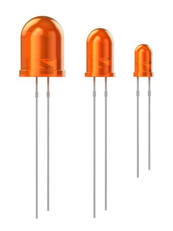 leds: Conjunto de LEDs de color naranja (8 mm, 5 mm, 3 mm) aisladas sobre fondo blanco Foto de archivo