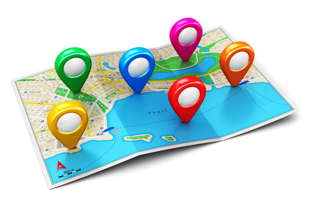 destination: Creative abstract GPS satellite navigation, travel, tourism and location route planning business concept: color city map with group of colorful destination pointer marker icons isolated on white background