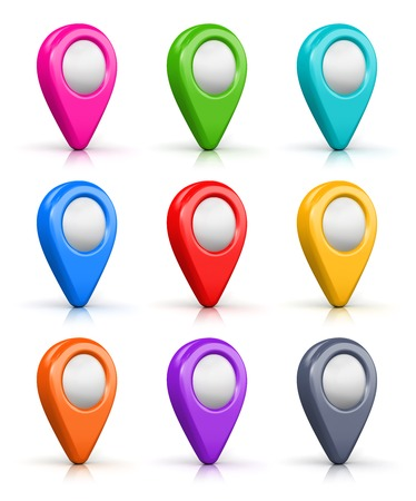Creative abstract GPS satellite navigation and location route planning business concept: set of color destination pointer marker icons isolated on white background with reflection effect