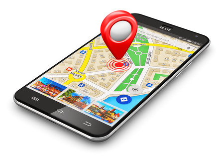 Creative abstract GPS satellite navigation, travel, tourism and location route planning business concept: modern black glossy touchscreen smartphone or mobile phone with wireless navigator map service internet application on screen and red destination poi Stock Photo