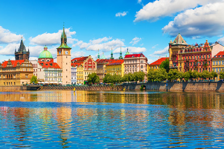 czechia: Scenic summer view of the Old Town ancient architecture and Vltava river pier in Prague, Czech Republic