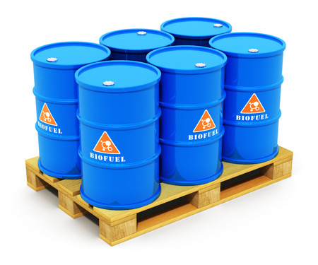 biodiesel plant: Creative abstract fuel, oil and gas industry and ecology protection technology business concept: blue metal barrels or drums with biofuel on wooden shipping pallet isolated on white background