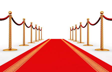 Creative abstract award ceremony and success in business concept: red carpet and golden chain barriers isolated on white background