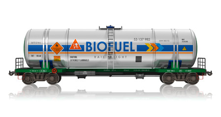 Creative abstract fuel, oil and gas industry, ecology protection technology, logistics, cargo shipping and freight railroad transportation business concept: industrial railway tankcar with biofuel isolated on white background with reflection effect photo