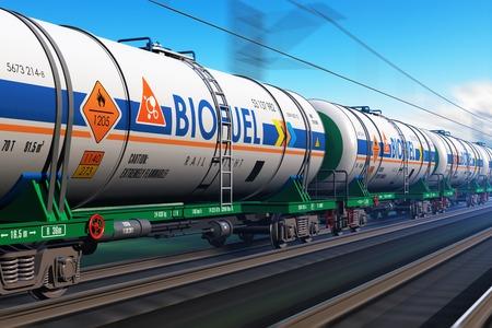 transporte: Combustible creativo abstracto, la industria de petr�leo y gas, tecnolog�a ecolog�a protecci�n, log�stica, transporte de carga y de carga de ferrocarril concepto de negocio de transporte: tren r�pido con cami�n cisterna con biocombustible con efecto de desenfoque de movimiento