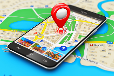 Creative abstract GPS satellite navigation, travel, tourism and location route planning business concept: macro view of modern black glossy touchscreen smartphone or mobile phone with wireless navigator map service internet application on screen and red d