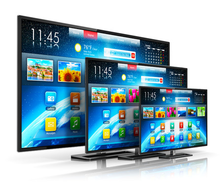 Creative abstract digital multimedia entertainment and media television broadcasting internet business concept: set of different size smart TV display screens with color web interface isolated on white background with reflection effect Standard-Bild