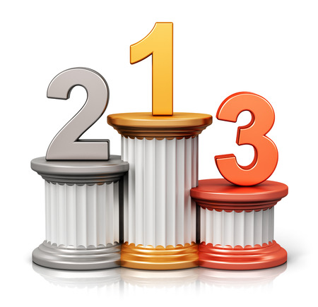 achievement concept: Creative abstract winning, business competition and leadership, award ceremony and success and achievement concept: pedestal with first, second and third place with gold, silver and bronze numbers isolated on white background with reflection effect