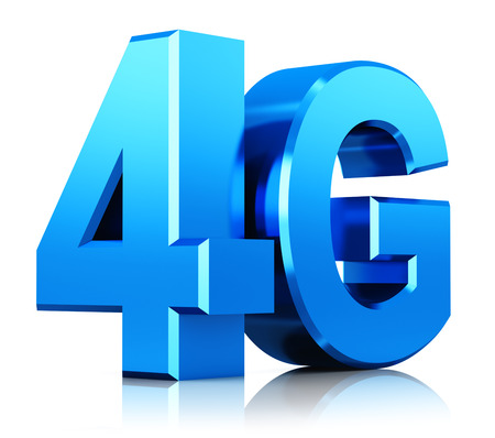 4g: Creative abstract mobile telecommunication cellular high speed data connection business concept: blue metallic 4G LTE wireless communication technology logo, symbol, icon or button isolated on white background with reflection effect