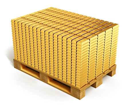 richness: Creative abstract wealth, richness, business financial success, banking development and growth and money accounting concept: stacks of gold ingots or golden bars or bullions on wooden shipping pallet isolated on white background