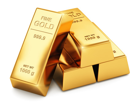 Creative abstract business success, financial growth, banking, accounting and stock exchange trade market corporate concept: stack of shiny gold ingots, bars or bullions isolated on white background