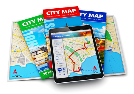 travel destinations: Creative abstract GPS satellite navigation, travel, tourism and location route planning business concept: set of color city maps and modern black glossy touchscreen tablet computer PC with wireless navigator map internet application on screen isolated on  Stock Photo