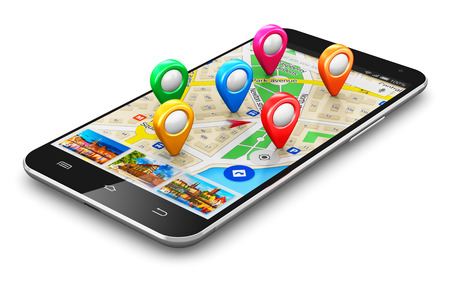 Creative abstract GPS satellite navigation, travel, tourism and location route planning business concept: modern black glossy touchscreen smartphone or mobile phone with wireless navigator map service internet application on screen and group of colorful d
