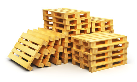 Creative abstract logistics, cargo transportation and freight shipment business commercial industry concept: stacks of wooden shipping pallets isolated on white background
