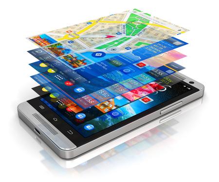 Kreative abstrakten Mobilität, drahtlose Kommunikation und App Herunterladen von Internet-Web-Business-Konzept: moderne Metall schwarz glänzend Touchscreen-Smartphone mit Gruppe von bunten Anwendungsbildschirm Schnittstellen mit farbigen Symbolen und Schaltflächen isoliert auf weißem Hintergrund