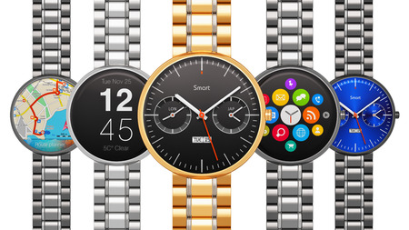 strap: Creative abstract business mobility and modern mobile wearable device technology concept: collection of stainless steel luxury digital smart watches or clocks with color screen interfaces with application icons and buttons and metal bracelets isolated on  Stock Photo