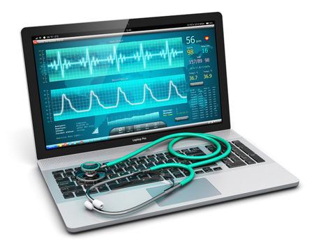 Creatieve abstracte gezondheidszorg, geneeskunde en cardiologie hulpmiddel concept: laptop met medische cardiologische diagnostische test software op het scherm en stethoscoop geïsoleerd op een witte achtergrond Stockfoto