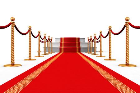 創造的な抽象授賞式およびビジネス概念の成功: 台座表彰台シーンと白い背景で隔離ゴールデン チェーン障壁とレッド カーペット 写真素材