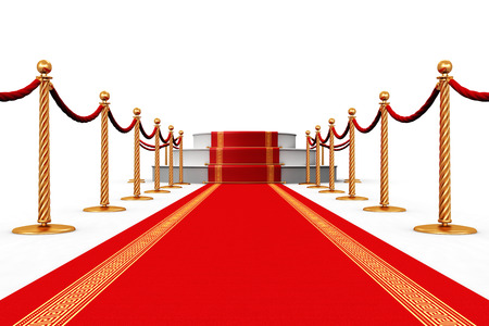 podium: Creative abstract award ceremony and success in business concept: red carpet with pedestal podium scene and golden chain barriers isolated on white background