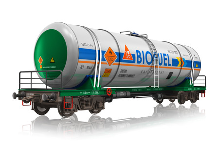 railroad transportation: Creative abstract fuel, oil and gas industry, ecology protection technology, logistics, cargo shipping and freight railroad transportation business concept: industrial railway tankcar with biofuel isolated on white background with reflection effect Stock Photo