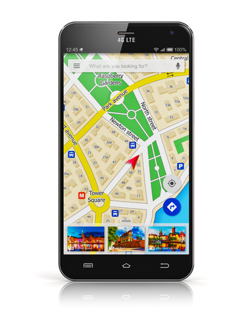 Creative abstract GPS satellite navigation, travel, tourism and location route planning business concept: modern black glossy touchscreen smartphone or mobile phone with wireless navigator map service internet application on screen isolated on white backg