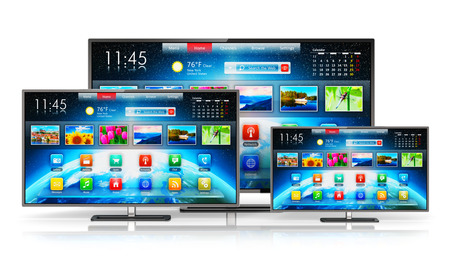 hdtv: Creative abstract digital multimedia entertainment and media television broadcasting internet business concept: set of different size smart TV display screens with color web interface isolated on white background with reflection effect Stock Photo