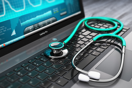 secure data: Creative abstract healthcare, medicine and cardiology tool concept: laptop or notebook computer PC with medical cardiologic diagnostic test software on screen and stethoscope on black wooden business office table with selective focus effect Stock Photo