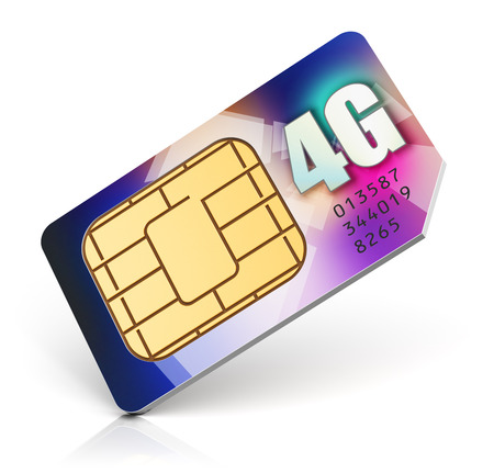 4g: color SIM card for mobile phone or smartphone with 4G LTE connection capability isolated on white background