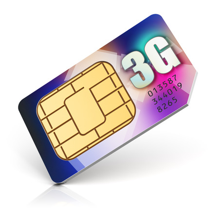 4g: color SIM card for mobile phone or smartphone with 3G connection capability isolated on white background