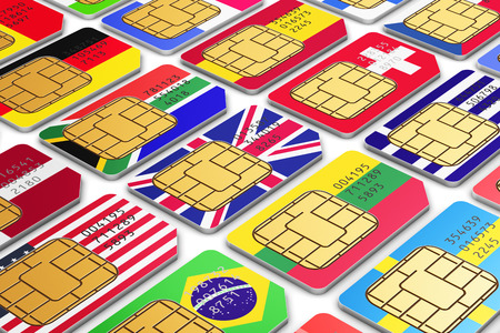 telecommunication equipment: group of color SIM cards for mobile phone or smartphone with international world state flags isolated on white background