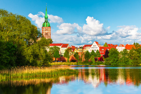 castle: Scenic summer panorama of the Old Town pier architecture of Stralsund, Mecklenburg region, Germany