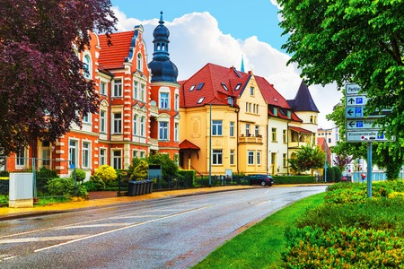 mecklenburg: Scenic summer view of old traditional architecture in the Old Town of Schwerin, Mecklenburg region, Germany Stock Photo