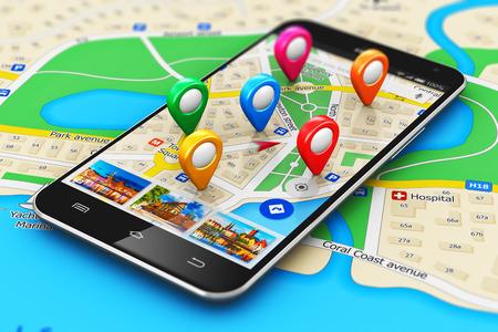 macro oog van de moderne zwarte glanzende touchscreen smartphone of mobiele telefoon met draadloze navigator kaart dienst internet applicatie op het scherm en de groep van kleurrijke bestemming aanwijzer marker pictogrammen op de stad kaart met selectieve focus effect