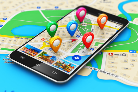 macro view of modern black glossy touchscreen smartphone or mobile phone with wireless navigator map service internet application on screen and group of colorful destination pointer marker icons on city map with selective focus effect