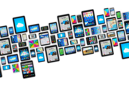 group objects: group of tablet computer PC and modern touchscreen smartphones or mobile phones with colorful display screen interfaces with icons and buttons isolated on white background
