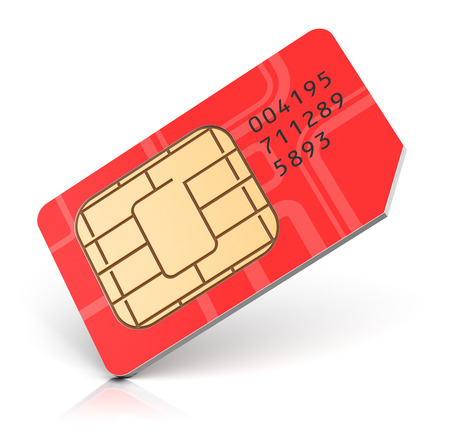 Creative abstract mobile telecommunication, wireless technology and mobility business communication internet concept: red SIM card for mobile phone or smartphone isolated on white background Stock Photo